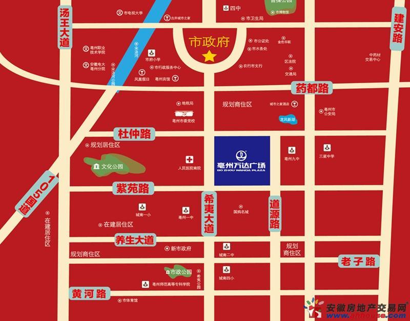 亳州万达广场交通图