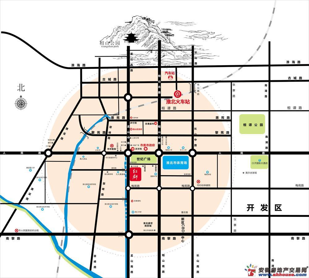 安邦红郡交通图