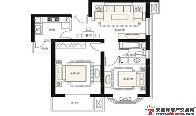 润峰·水岸名城_2室2厅1卫1厨